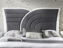 Upholstered and lacquered headboard. Mod. ARCO IRIS TAP