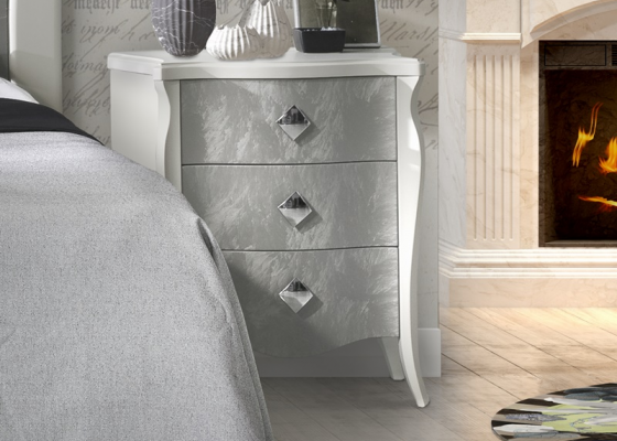 Lacquered bedside tables - set of 2 units. Mod: FRIDA CRISTAL
