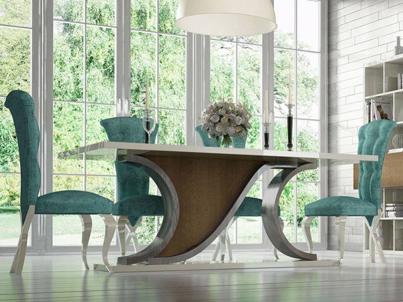 Fix dining table with wood top. Mod. RHIN