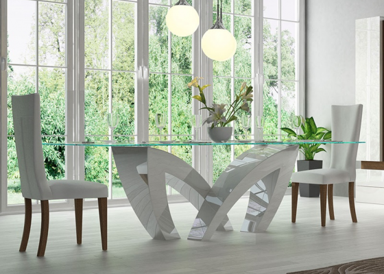 Fix dining table with tempered glass top. Mod. SEINE