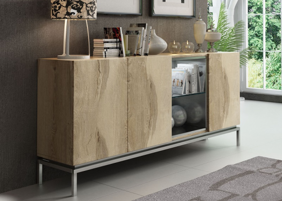 Oak wood sideboard. Mod. RUEDA