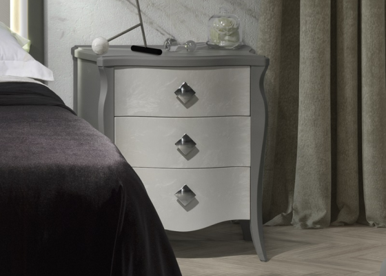 Lacquered bedside tables - set of 2 units. Mod: FRIDA CIELO