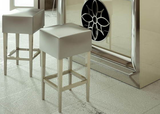 Set of 2 upholstered stools. Mod. CAVA