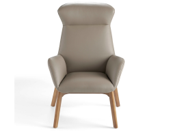 Leather upholstered armchair . Mod. MARENA