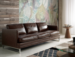 3 seater sofa upholstered with leather. Mod. BIANCA 3P