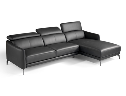 Leather sofa with chaise longue. Mod. CAELI CL-R