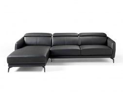 Leather sofa with chaise longue. Mod. CAELI CL-L