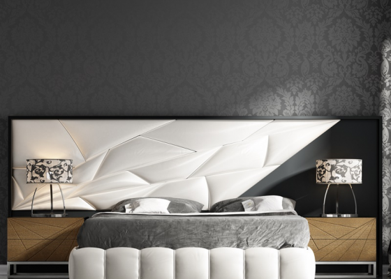 Lacquered and upholstered headboard. Mod. LINDE