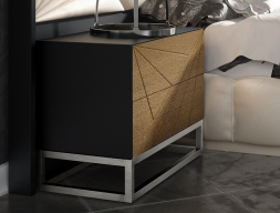 Lacquered bedside tables with fronts of drawers in oak wood - set of 2 units. Mod. LINDE2