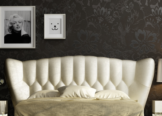 Curved upholstered and padded headboard. Ref. ZARAH