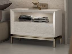 Oak wood bedside tables with 1 drawer and hollow - set of 2 units. Mod: NAUGE