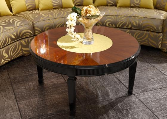 Table basse ronde plateau en bois et en tissu laqu e brillant noir mod 4187 4 - Table basse ronde laquee ...