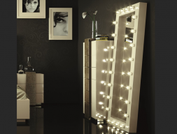 Lacquered mirror with light. Mod. STAR