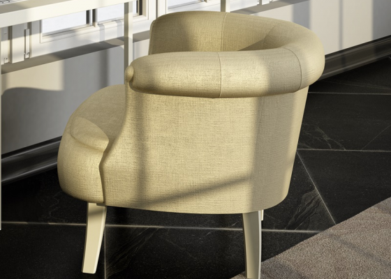 Curved upholstered armchair. Mod. ESFERA