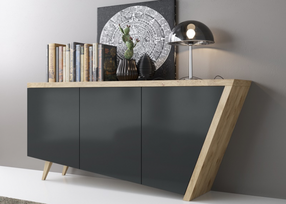 Oak knotted sideboard with lacquered doores. Mod. DEKO