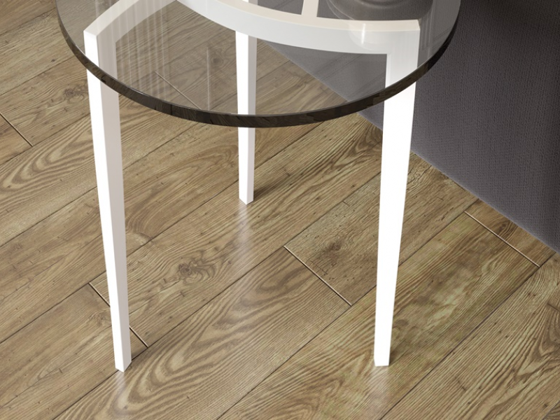 Corner round low table in lacquered steel. Mod. MULINELLI