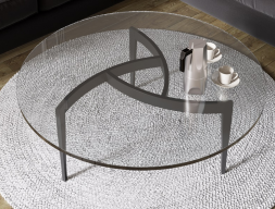 Round low table with lacquered legs. Mod. MULINELLI