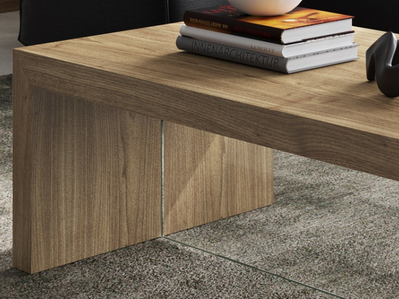 Knotted oak low table. Mod. VOLARE