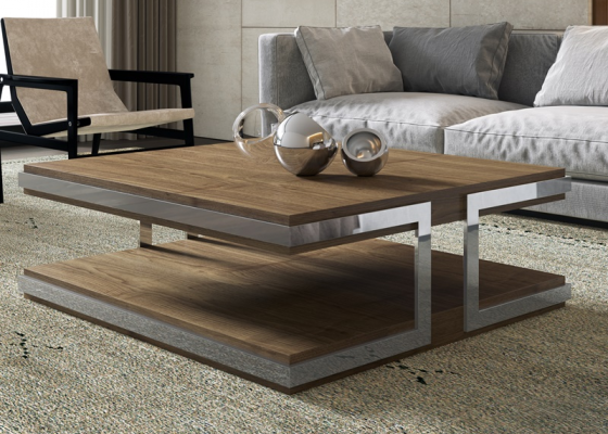 American walnut low table. Mod. ABRACCIO