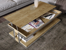 Oak lift top low table. Mod. ABRACCIO LIFT TOP