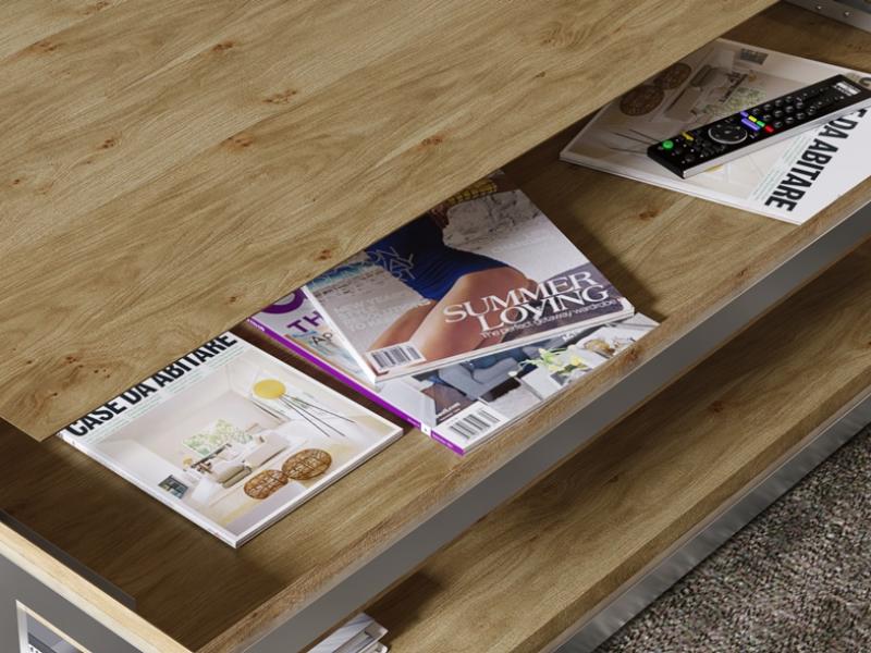 Oak lift top low table. Mod. ABRACCIO LIFT TOP