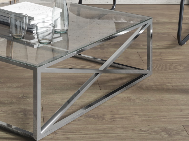 Chrome steel low table. Mod. RUSTY