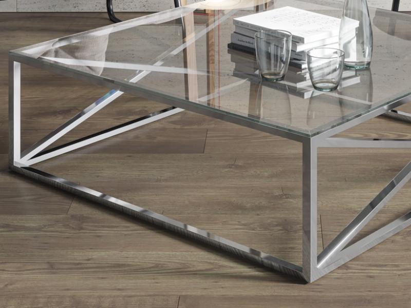 Chrome steel low table. Mod. RUSTY