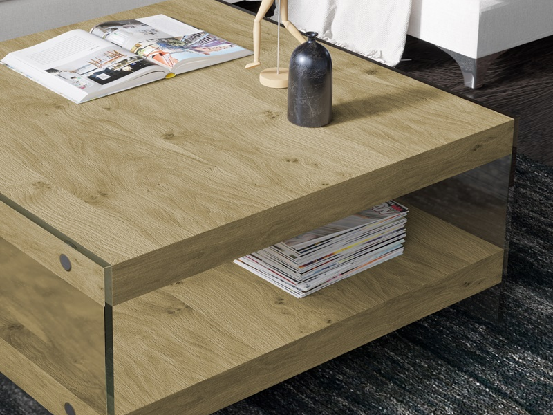 Wood low table  with glass. Mod. MIAD
