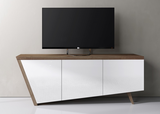 Lacquered and walnut TV stand. Mod. DEKO
