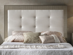 Lacquered and upholstered headboard. Mod. DIAMOND CHAMPAGNE