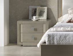 Lacquered bedside tables - set of 2 units. Mod: DIAMOND CHAMPAGNE