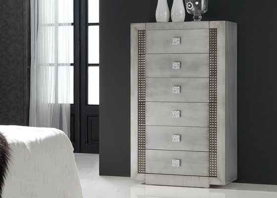 Chiffonnier with 6 drawers. Mod: DIAMOND SILVER
