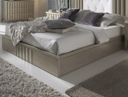 Lacquered bed frame. Mod : LOYRA CHAMPAGNE
