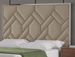 Upholstered headboard with stainless steel. Mod. NATALIE