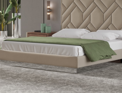 Upholstered bed frame with mirror. Mod. NATALIE