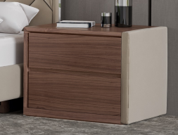 Wood and uphosltered bedside tables - set of 2 units. Mod. NATALIE