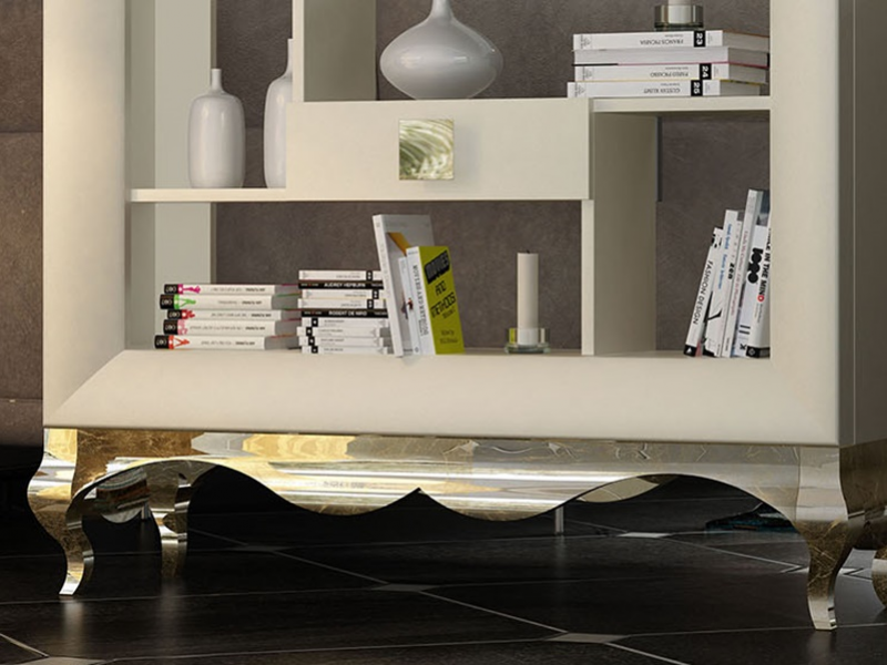 Shelf behind the sofa with chippendale base. Mod. EVA