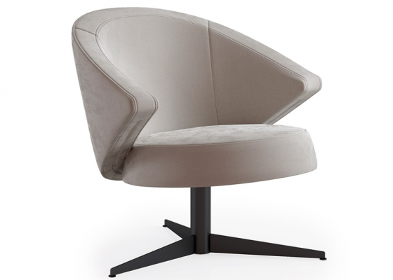 Upholstered swivel armchair. Mod. ENMA