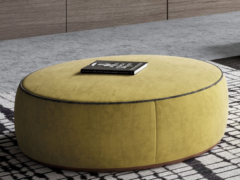 Upholstered and wood pouf. Mod. KRISTEN