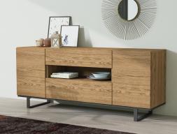 Oak sideboard with metalic base. Mod. KORIA