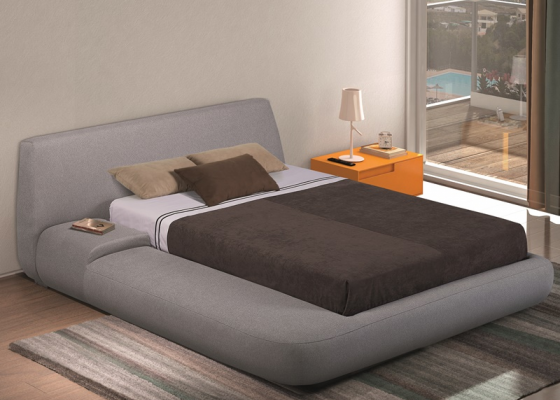 Complete upholstered  bed with built-in bedside table. Mod: LIS