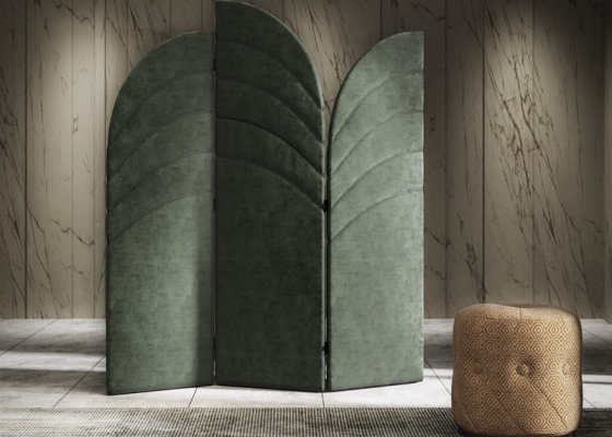 Upholstered folding screen.Mod: DORIANNE