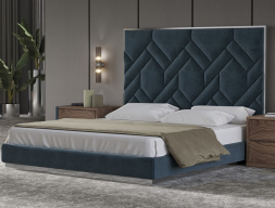 Complete upholstered bed with polished stainless steel details. Mod: DORIANNEVELVET