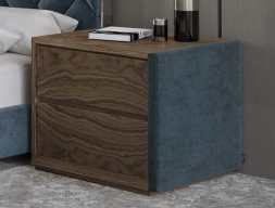 Wood and uphosltered bedside tables - set of 2 units. Mod. DORIANNE VELVET