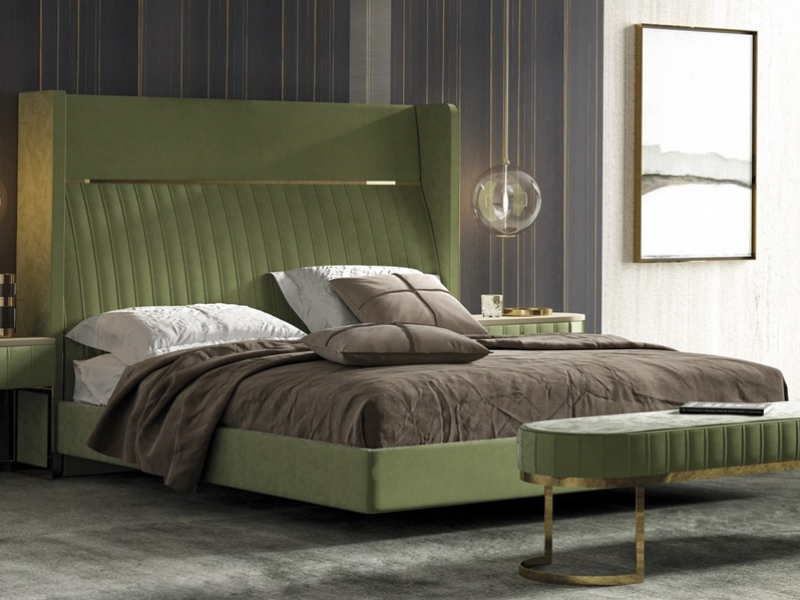 Complete upholstered  bed. Mod: CAMILE