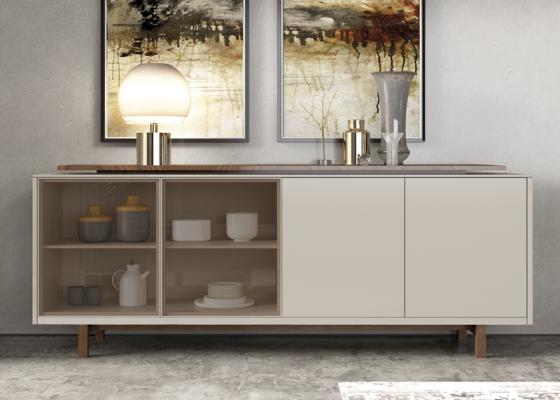 Lacquered sideboard with glass and wood doors and drawers. Mod. MESSINA