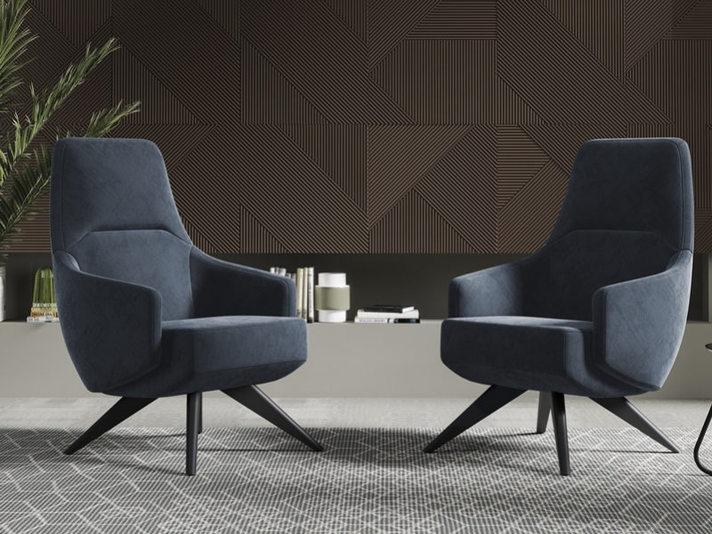 Upholstered armchair with lacquered legs. Mod. MARIE
