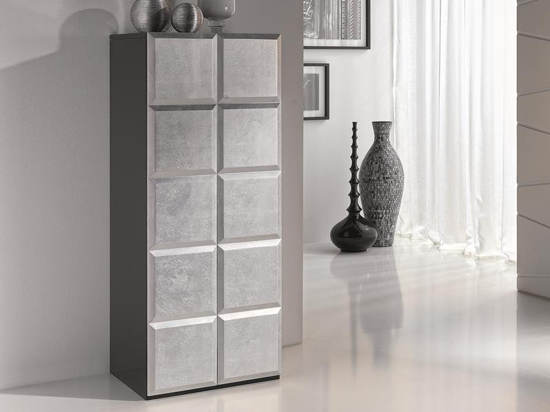 chiffonnier avec coffret bijoux et miroir en laqu blanc avec fa ades des portes en feuille d. Black Bedroom Furniture Sets. Home Design Ideas