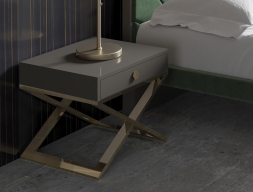 Stainless steel and lacquered bedside tables - set of 2 units. Mod. BARDOT