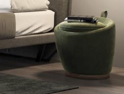 Upholstered pouf bedside table. Mod. PROVENCE